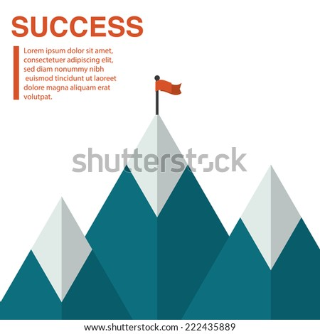 Success concept - top of the mountain with flag. Flat illustration of a victory or goal achievement with copy space. - stock vector