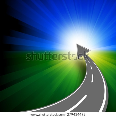 Success concept with road and arrow to horizont  - stock vector