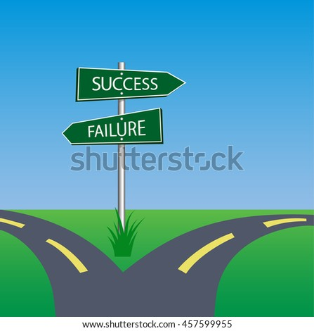 success failure signpost on pole in crossroad - stock vector