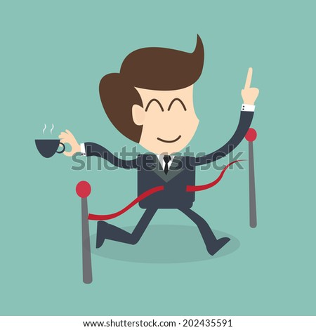 Success Feel Easy - Businessman crossing the finish line  - stock vector