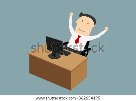 Success, goal achievement or good news concept. Happy businessman sitting neap computer and enjoying success with raised hands - stock vector