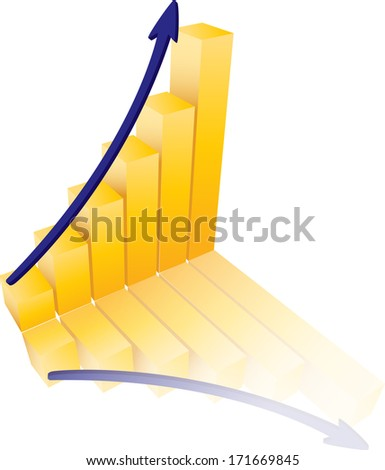 Success Graph Illustration With Gold and Blue Colors - stock vector