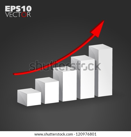 Success Growth with red arrow on dark background - stock vector