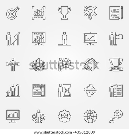 Success icons linear set - vector collection of personal development concept signs. Thin line business success pictograms - stock vector