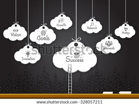 Success idea in cloud as inspiration concept - stock vector