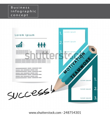 success infographic design made from vector pencil illustration - stock vector