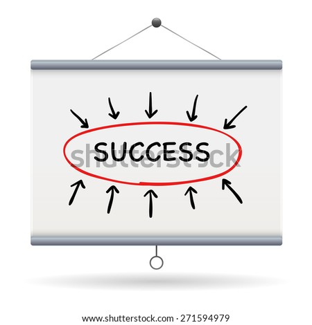 success keyword on projector screen  illustration design over a white background - stock vector
