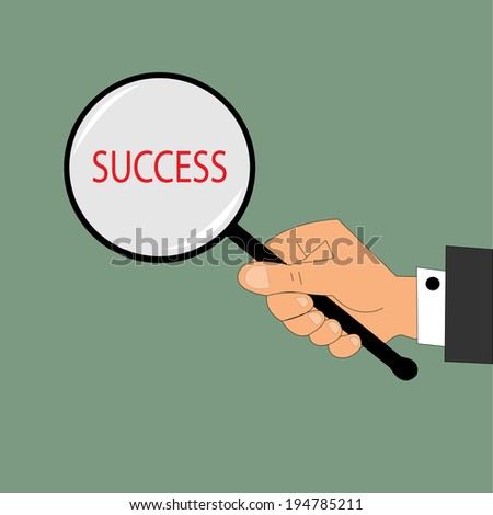 SUCCESS. Magnifying glass. Vector illustration. - stock vector
