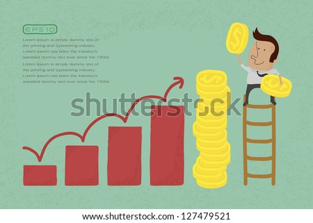 Success metaphor depicted with coins , eps10 vector format - stock vector