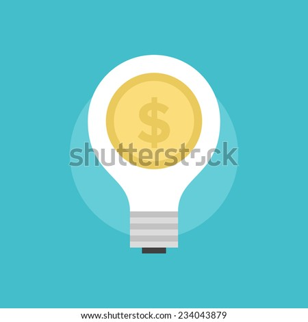 Success money idea, lightbulb with dollar coin, startup market innovation, fundraising from investor. Flat icon modern design style vector illustration concept. - stock vector