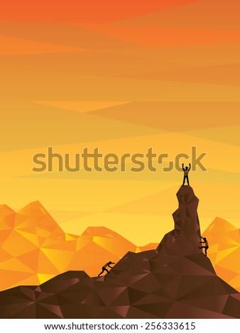 success of mountaineer, orange sky scene, vector illustration - stock vector
