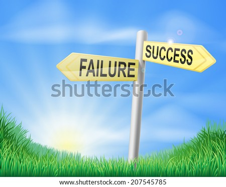 Success or failure sign concept with a choice to make - stock vector