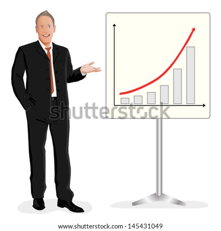 Success smiling businessman shows arrow up or offers some benefit