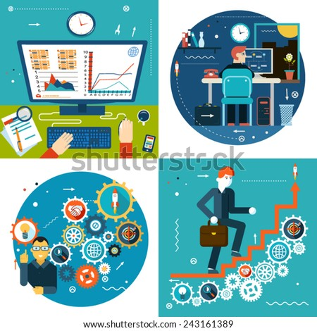 Success Stair Gears Online Business Statistics Concept Symbol Businessman Study Timeline at Work Desk Icon on Stylish Background Modern Flat Design Template Vector Illustration - stock vector