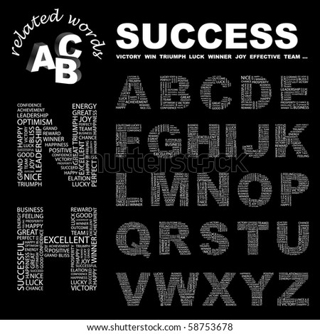 SUCCESS. Vector letter collection. Illustration with different association terms.