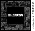 SUCCESS. Word collage on black background. Vector illustration. Illustration with different association terms. - stock vector