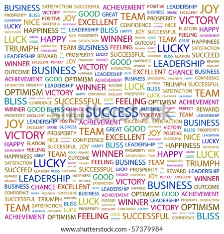 SUCCESS. Word collage on white background. Illustration with different association terms. - stock vector