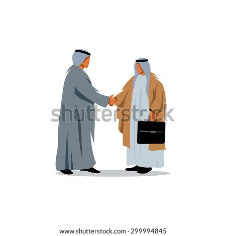 Successful Arabic business people shaking hands over a deal. Vector Illustration. Branding Identity Corporate logo design template Isolated on a white background - stock vector
