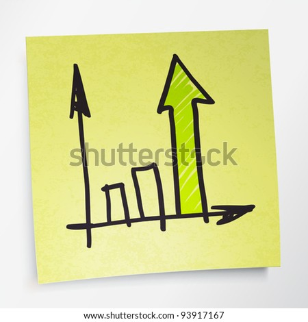 Successful business graph on yellow sticky paper. Vector illustration. EPS10. - stock vector