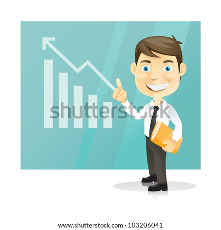 Successful business man. Cartoon character.Vector Illustration - stock vector