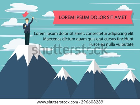 Successful business man holding flag on the  mountain top. - stock vector