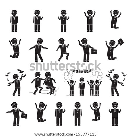 Successful Business Men Set - Isolated On White Background - Vector Illustration, Graphic Design Editable For Your Design - stock vector