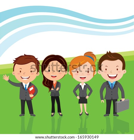 Successful business team. Vector illustration of Young attractive business team or Leadership team happy standing in line. Showing Successful background. - stock vector