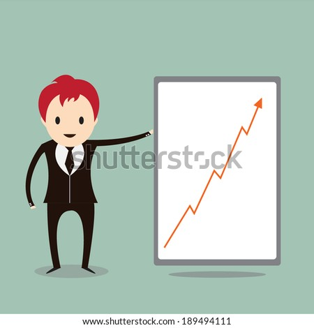 Successful business ,Young businessman showing  graph of success
