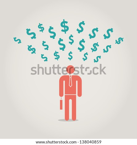 Successful businessman attracting money. Concept for success, big profit. - stock vector