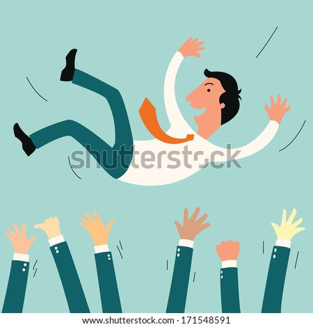 Successful businessman being throwing up by his teamwork or colleague. Feeling and emotion concept in success and team work.  - stock vector