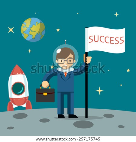 Successful businessman gets the moon holding a flag and carrying case. Vector illustration - stock vector