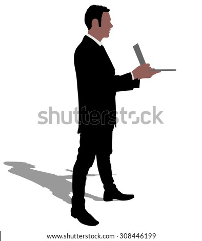 Successful businessman holding a laptop, vector
