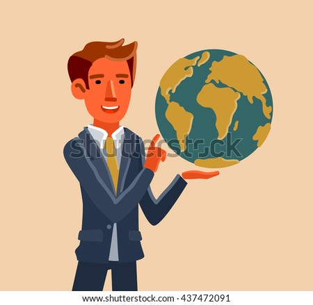 Successful businessman holds earth globe in a hand. Business idea, business time, development and strategy concept. New business project concept - stock vector