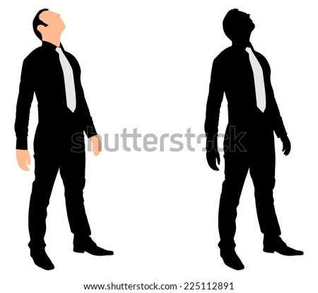 Successful businessman looking up, vector  - stock vector