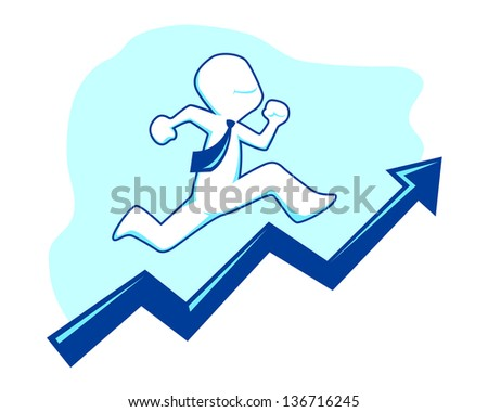 Successful businessman running and climbing a sales graphic, vector illustration