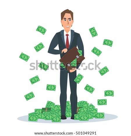 Cartoon Illustration Businessman Falling Notes Vector ...