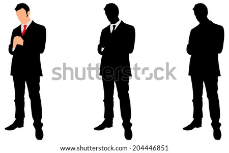 successful businessman standing, vector