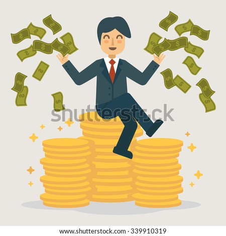 Successful businessman throwing money. Business concept vector illustration. - stock vector