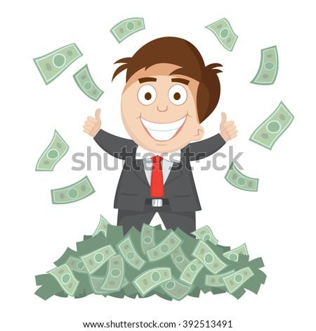 successful businessman thumb up money bills pile, vector  illustration - stock vector