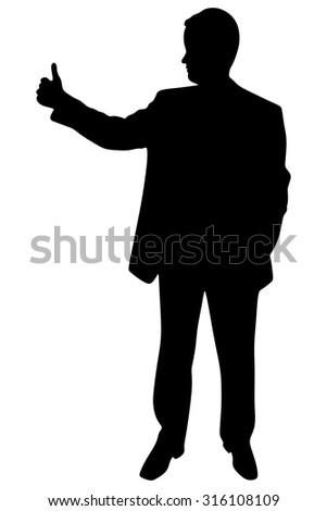 successful businessman, thumb up, vector - stock vector