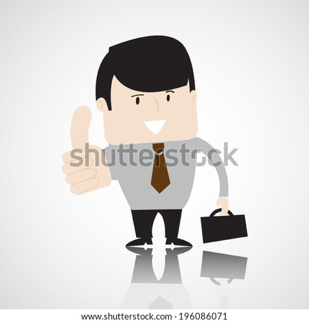 Successful businessman with briefcase show hand with thumb up, business concept . Vector EPS 10.  - stock vector