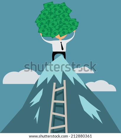 Successful businessman with money on top of mountain, flat design vector illustration - stock vector
