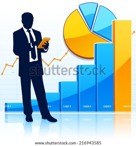Successful businessman with tablet computer. - stock vector