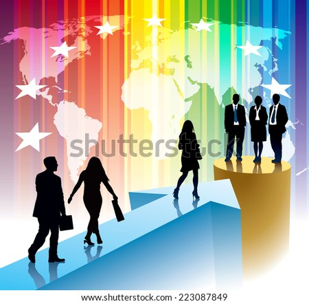 Successful businesspeople are going to one point - stock vector