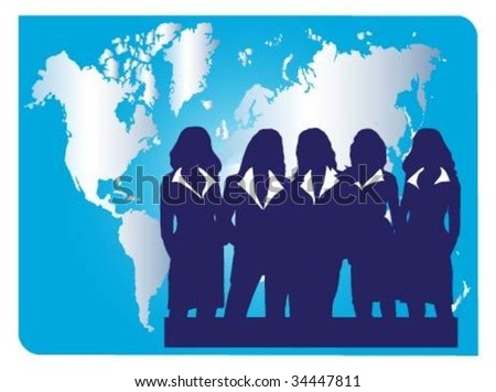 Successful businesswomen.Team - stock vector