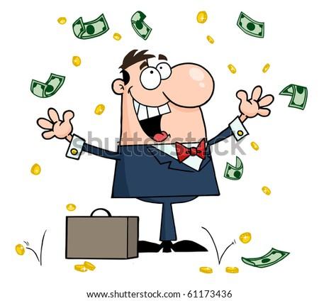 Successful Caucasian Businessman Standing Under Falling Money - stock vector