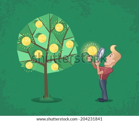 Successful Goldminer. Lucky guy, close looking golden coin through magnifying glass near the money tree. Illustration on the subject of world currencies. - stock vector