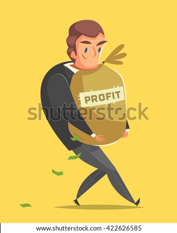 Successful, happy businessman in a suit. Successful businessman cartoon style character  carrying a bag full of money with word Profit on it. Yellow background. Vector illustration. - stock vector