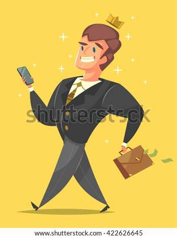 Successful, happy businessman in a suit. Successful businessman cartoon style character with briefcase full of money on yellow background. Vector illustration.   - stock vector