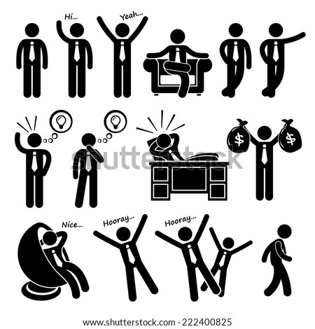 Successful Happy Businessman Poses Stick Figure Pictogram Icons - stock vector